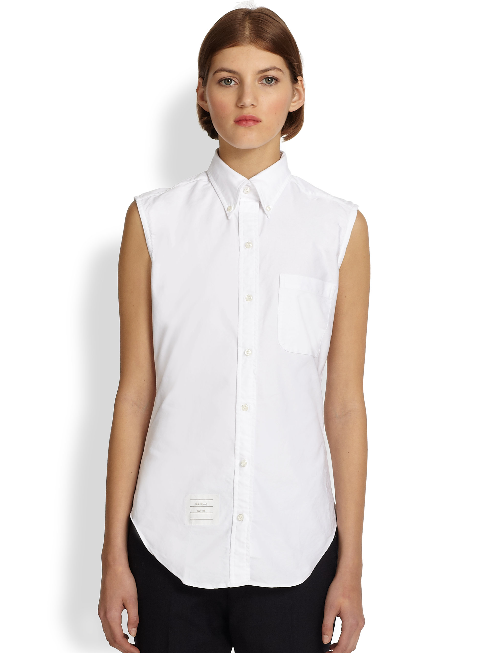 Thom browne Sleeveless Oxford Shirt in White | Lyst