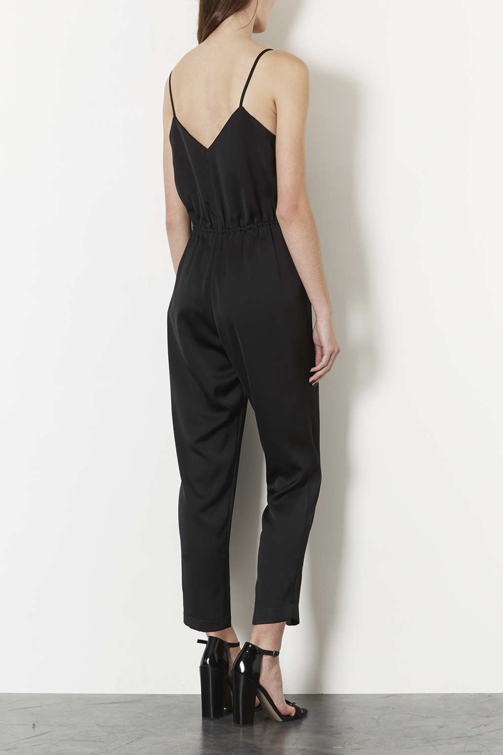 74171f3aa6cc Lyst - TOPSHOP Petite Satin Strappy Jumpsuit in Black