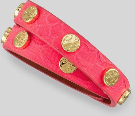 Tory Burch Logostud Snakeembossed Wrap Bracelet Energy Pink in Pink (ENERGY PINK)