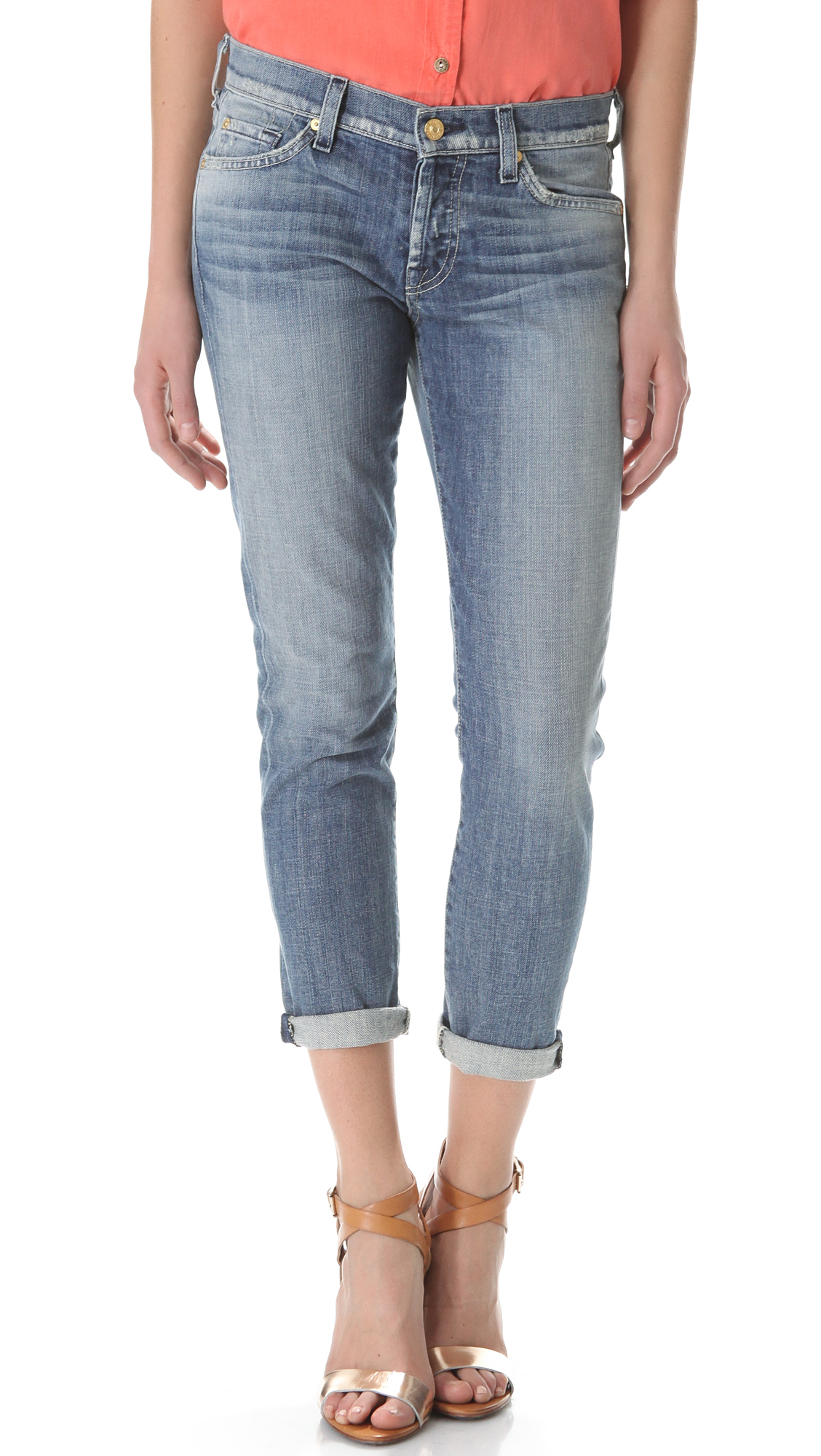 7 For All Mankind Josefina Boyfriend Jeans - Pure Light Blue in Blue (Pure Light Blue) | Lyst