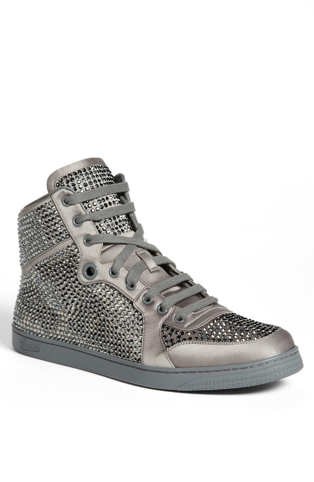 gucci coda crystal high top sneaker in gray for men grey. Black Bedroom Furniture Sets. Home Design Ideas