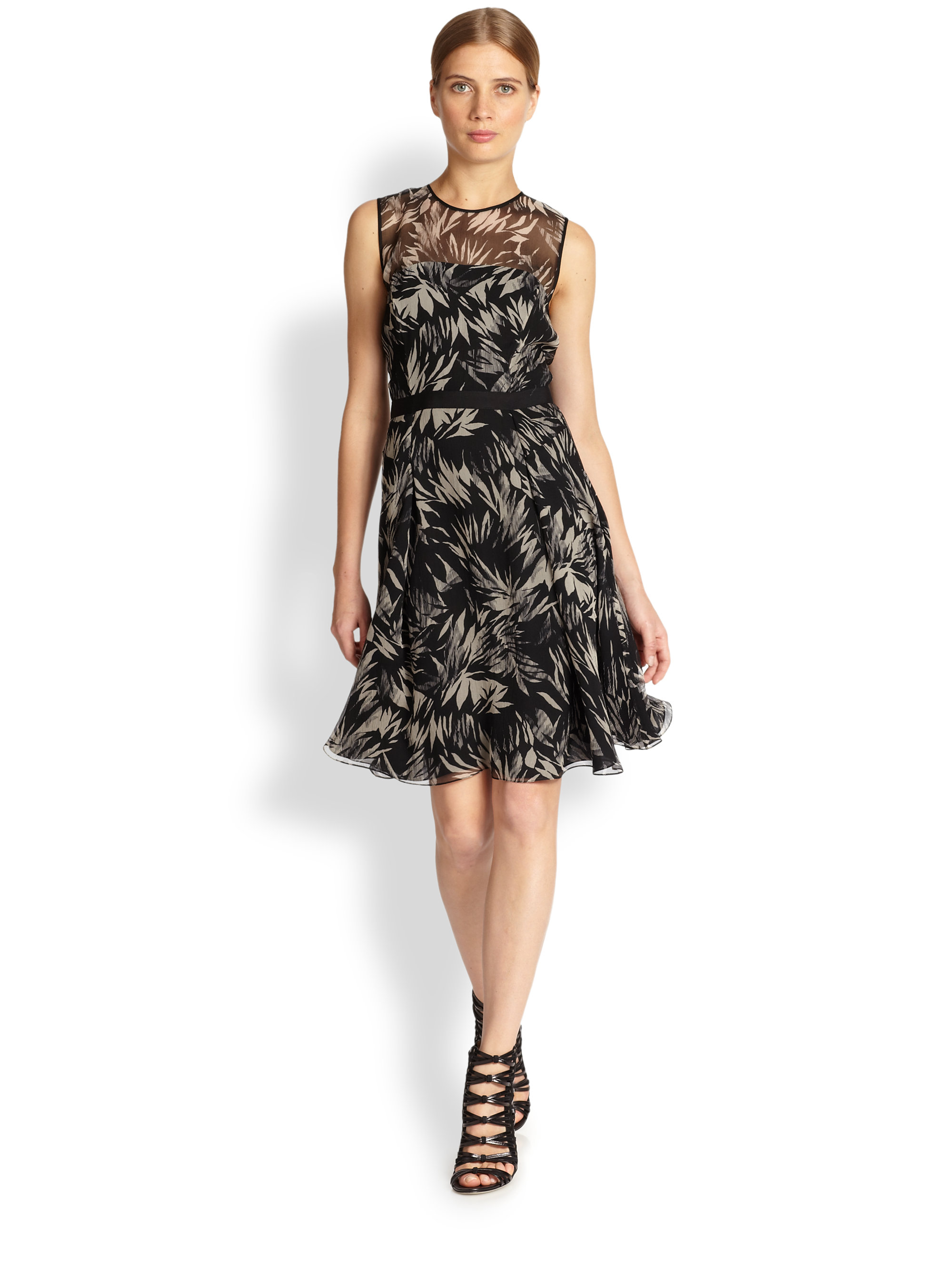 Jason wu Botanical Print Silk Chiffon Dress in Black | Lyst