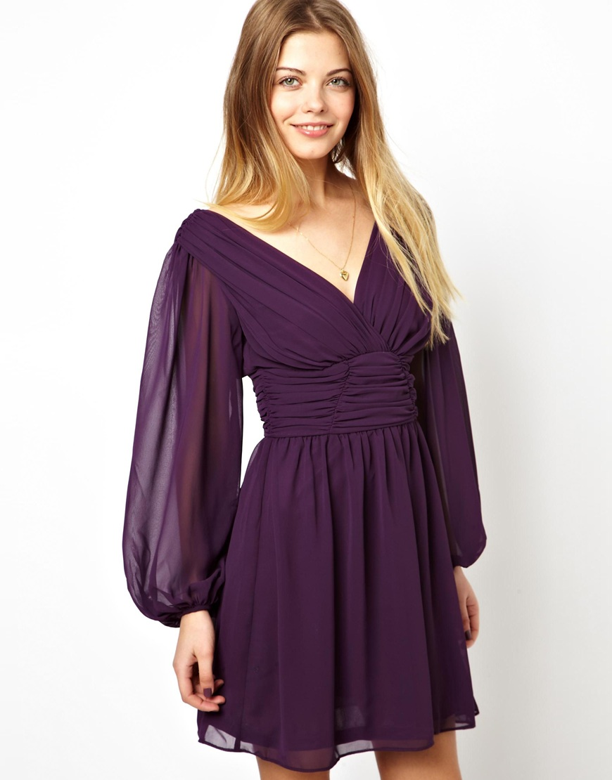 Asos Skater Dress with Long Sleeve in Purple
