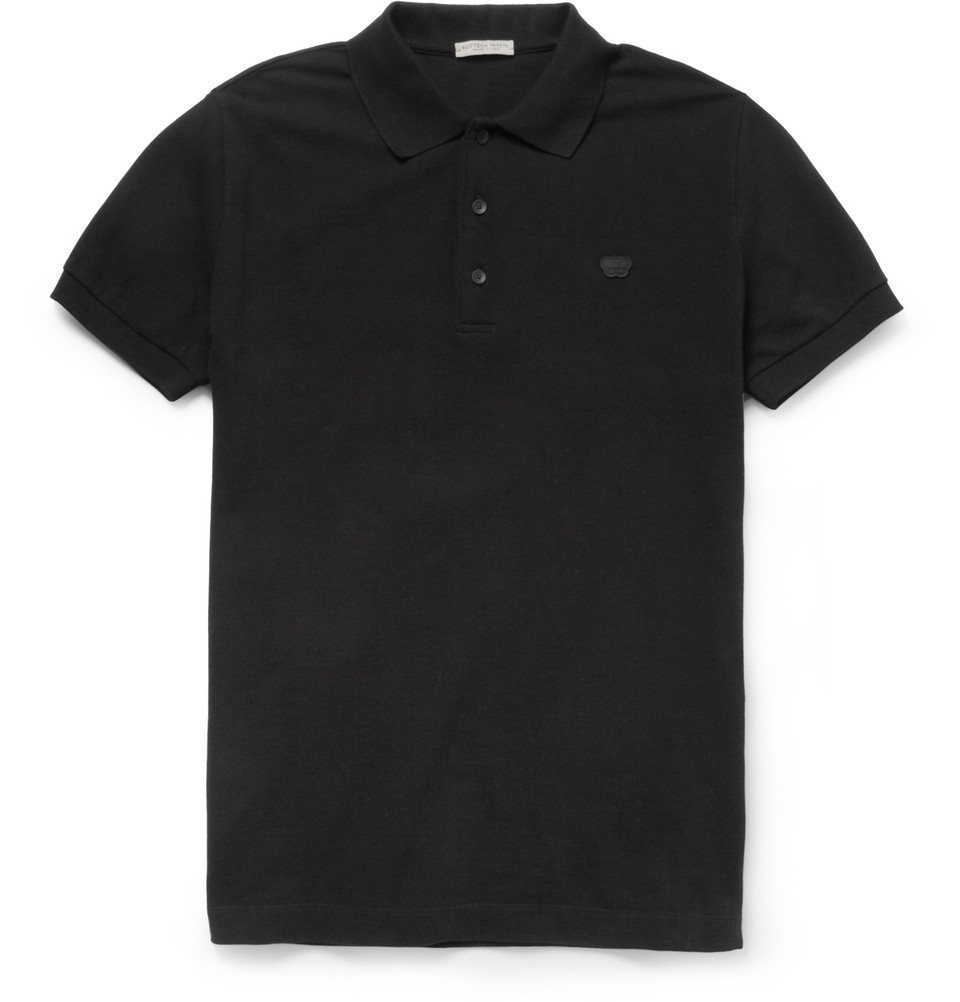 Lyst bottega veneta cottonpiqu polo shirt in black for men for Bottega veneta t shirt