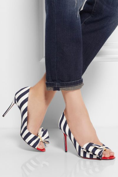 Christian Louboutin Just Soon 85 Striped Canvas Pumps In