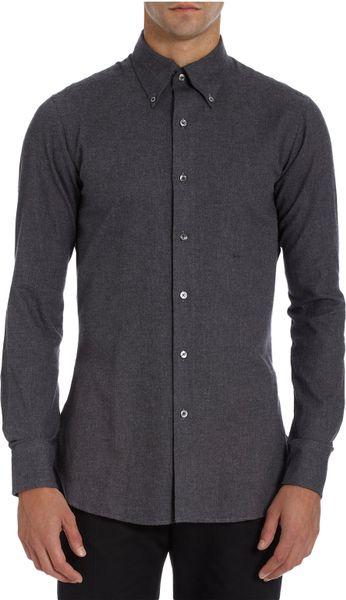 E tautz button down collar dress shirt in gray for men for Mens grey button down dress shirt