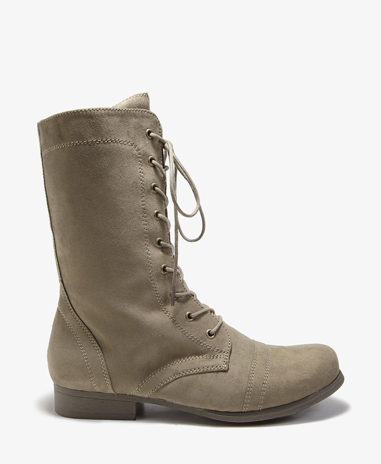 forever 21 faux suede combat boots in khaki olive lyst