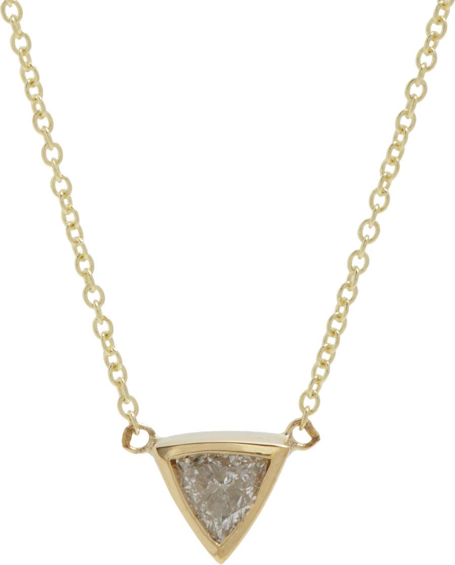 Lyst Jennifer Meyer Trillion Diamond Necklace In Metallic