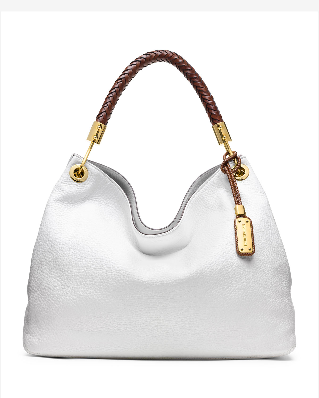 261bef328c9f Lyst - Michael Kors Large Skorpios Shoulder Bag in White