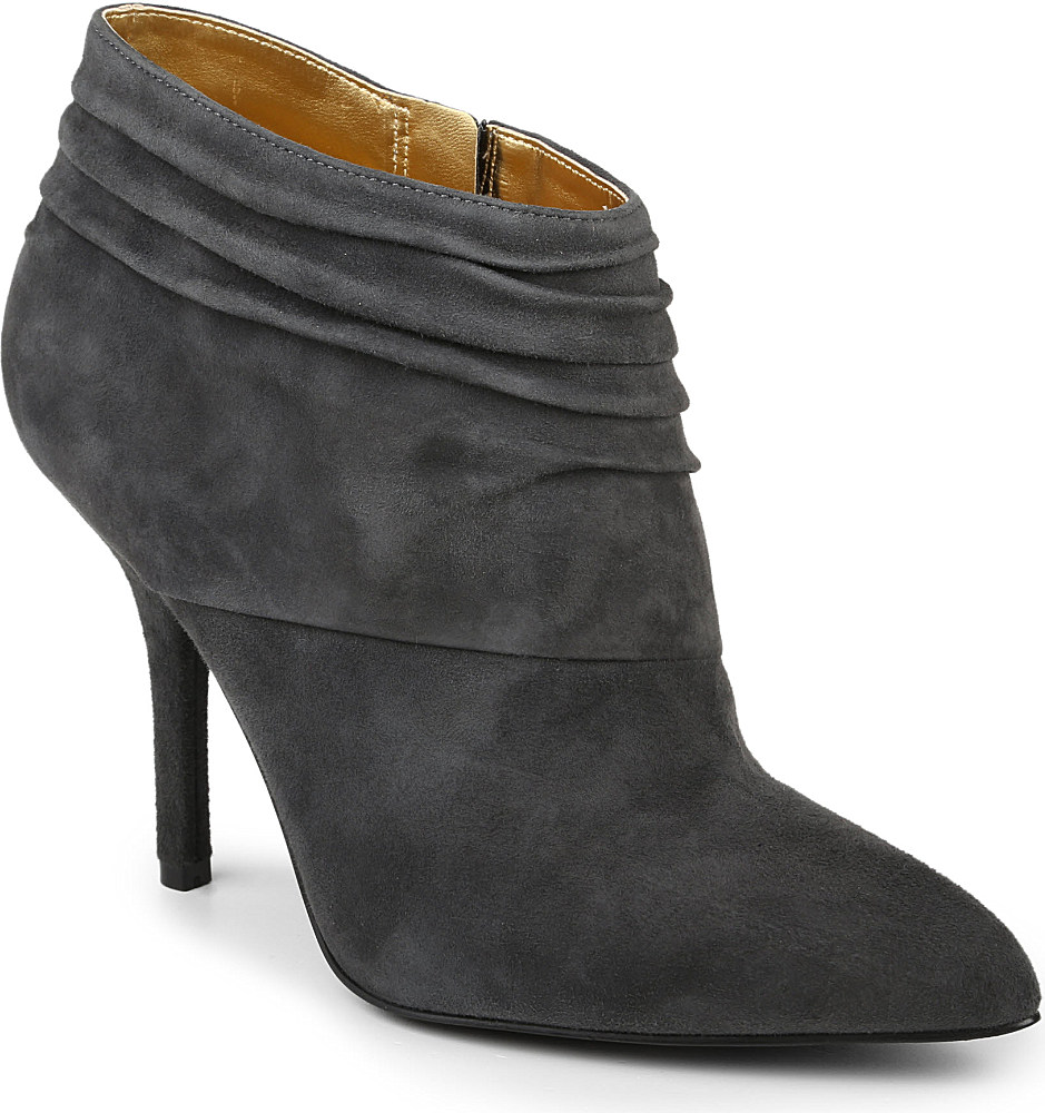 nine west junette suede slouched ankle boots in gray lyst