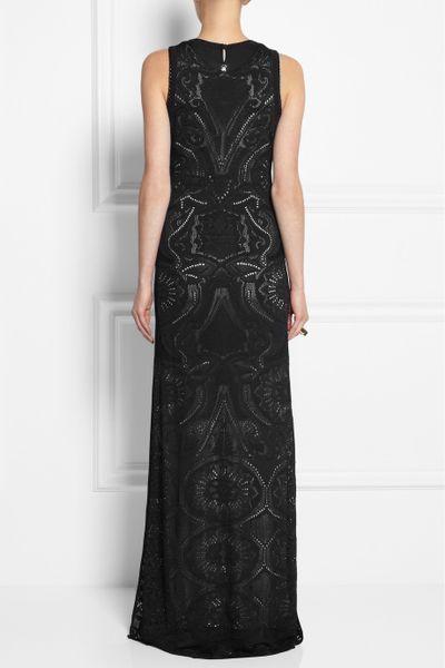 Roberto Cavalli Crocheted Lace Maxi Dress In Black Lyst