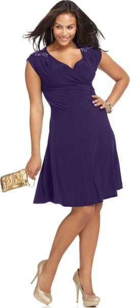 Soprano Sleeveless Beaded Faux Wrap In Purple Navy Lyst