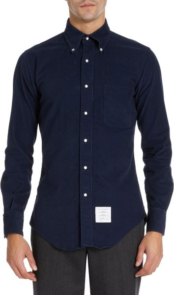 thom browne snap button corduroy shirt in blue for men