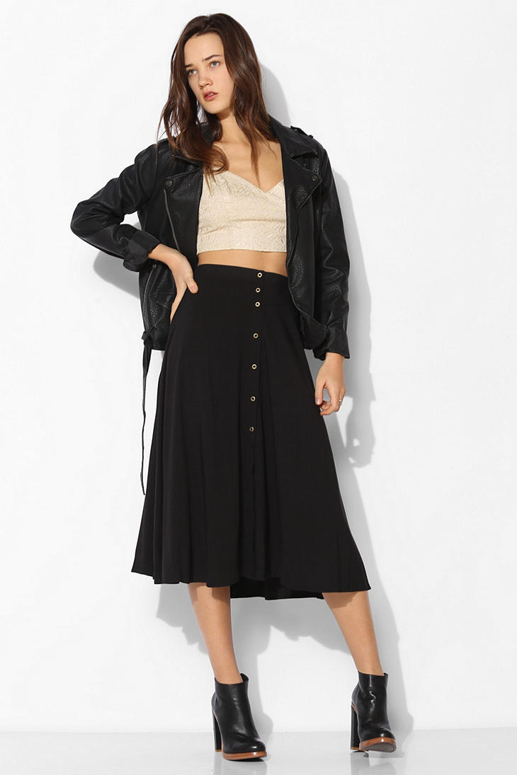Ecote Button-down Midi Skirt in Black | Lyst