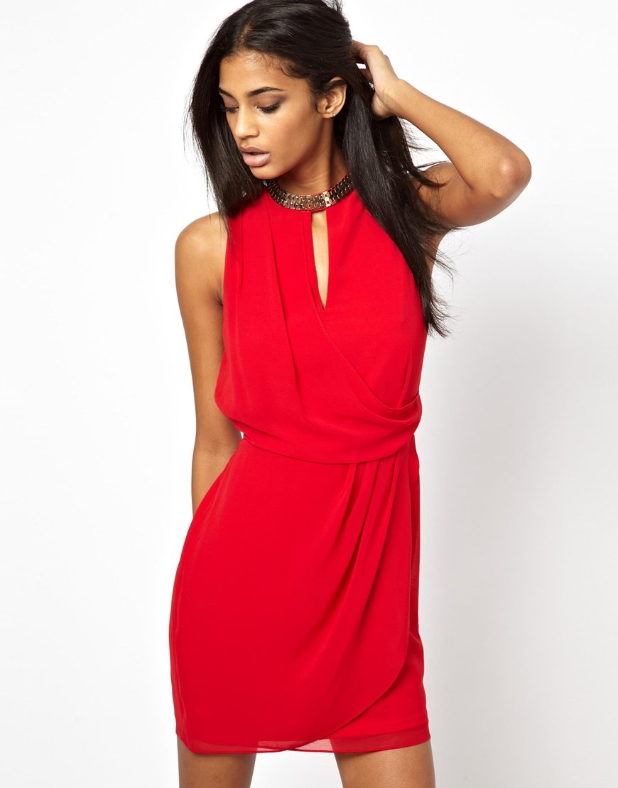 50cb8401ab9 Lyst - ASOS Chain Wrap Dress in Red