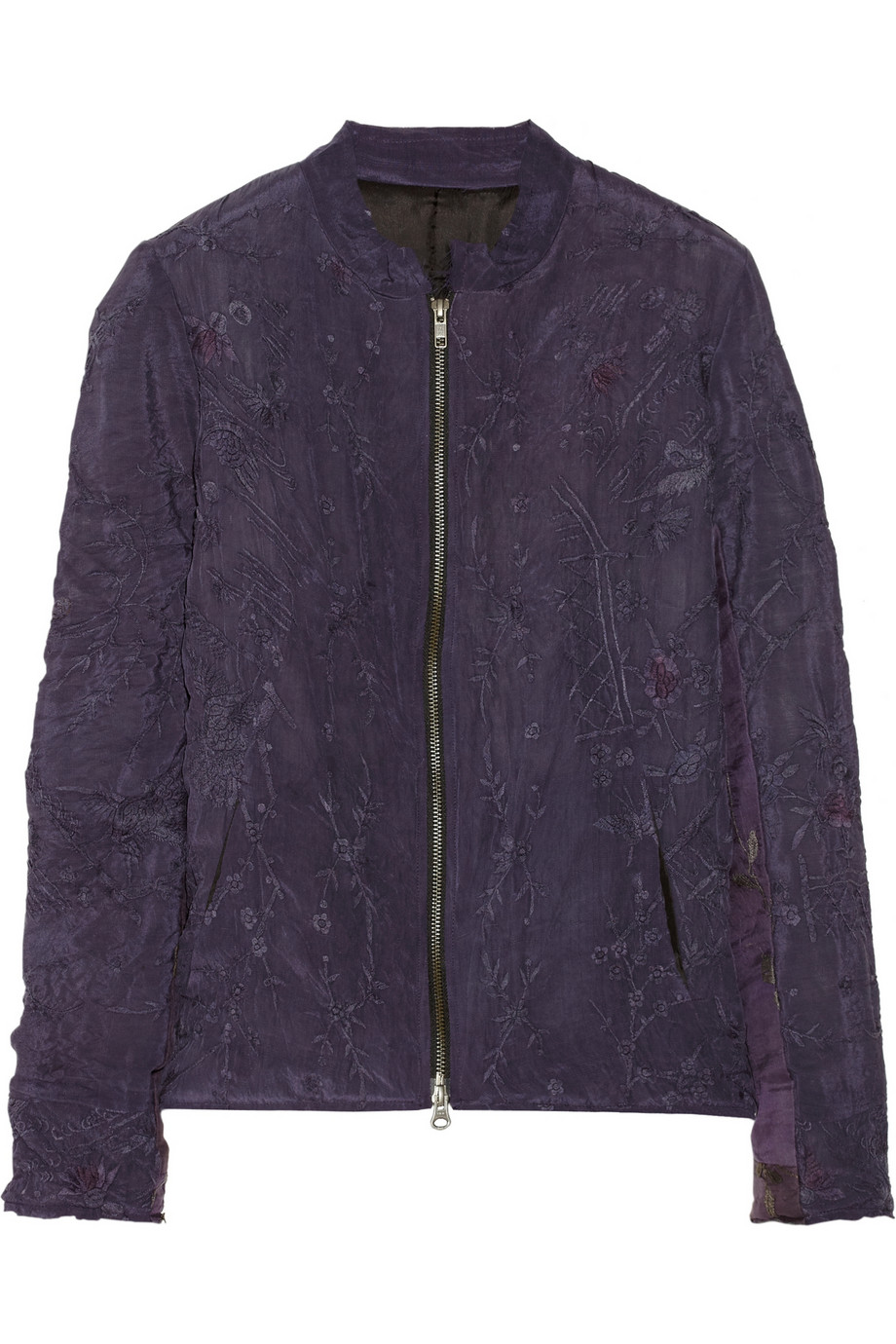 By walid embroidered silk bomber jacket in purple lyst