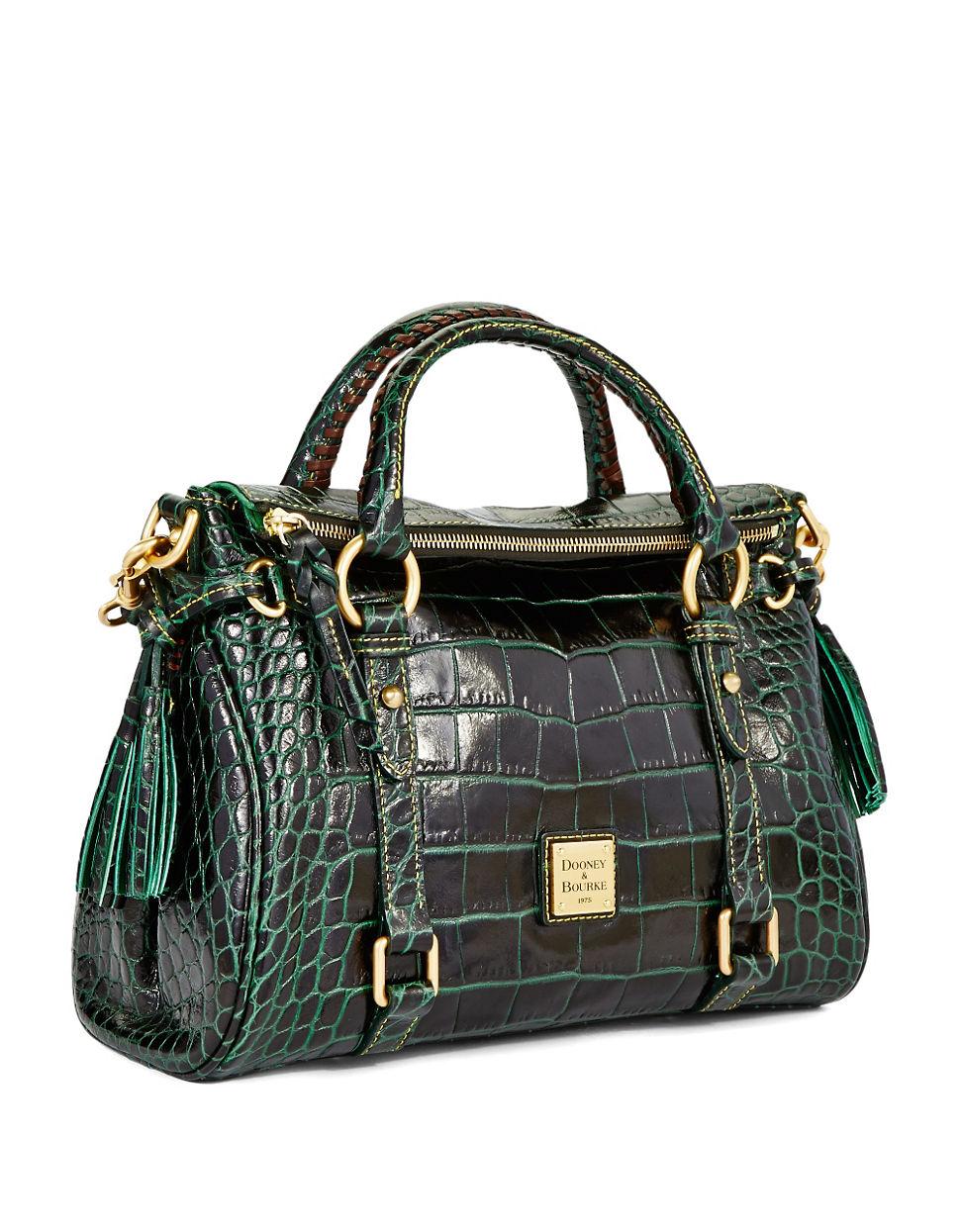 Dooney Amp Bourke Croc Embossed Small Leather Satchel Bag In