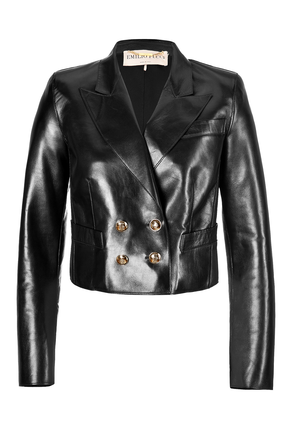 Lyst Emilio Pucci Leather Cropped Blazer In Black