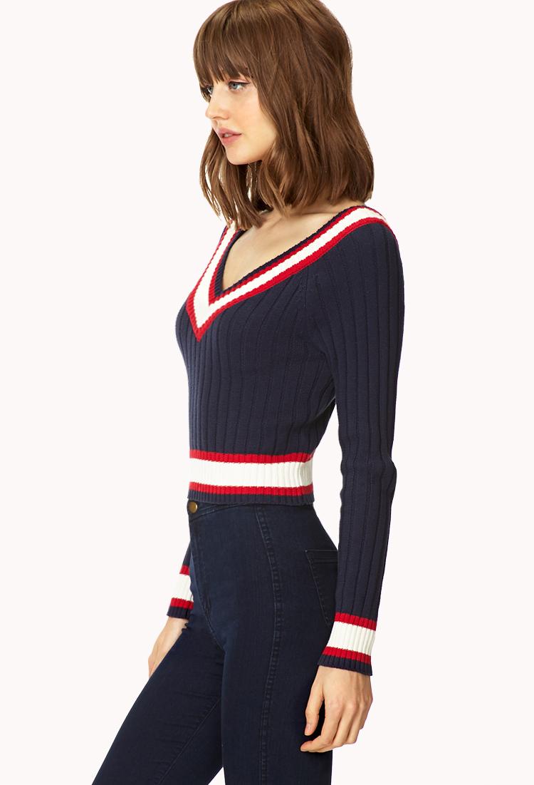 48c0627b7d Lyst - Forever 21 Prepster V-neck Sweater in Blue