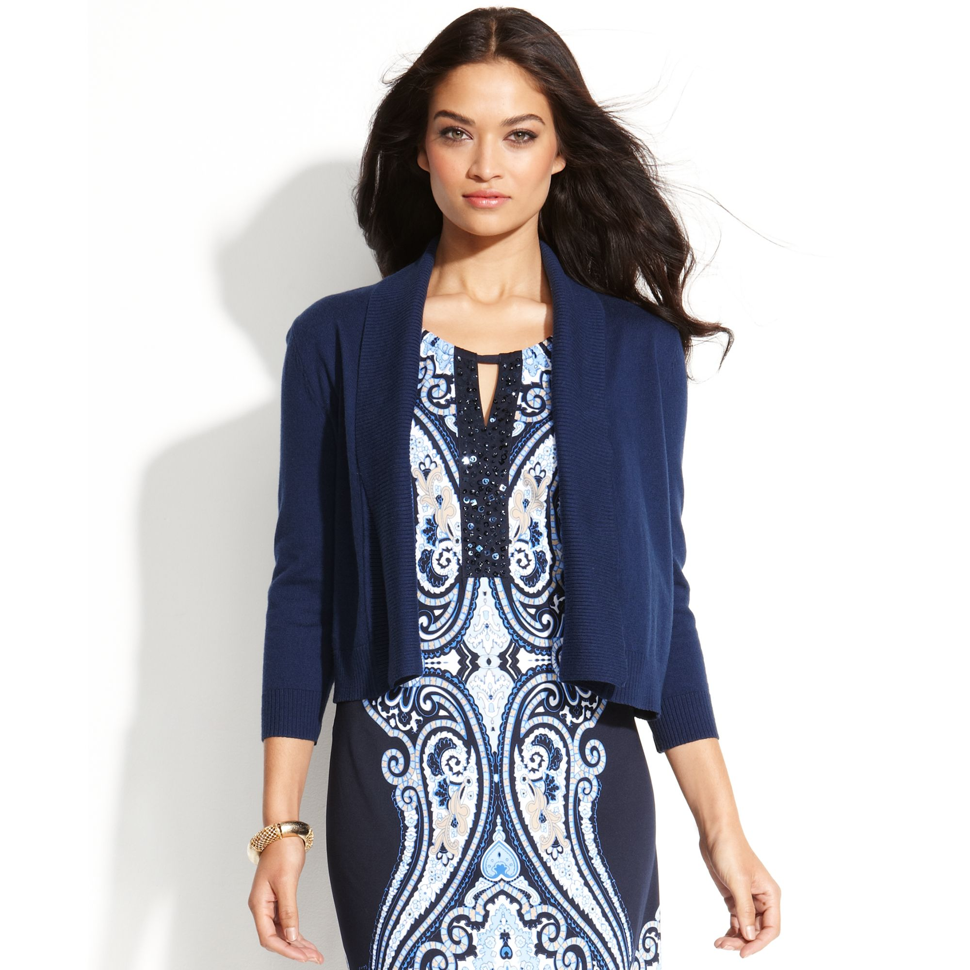 Inc international concepts Cropped Shawl Collar Cardigan in Blue ...