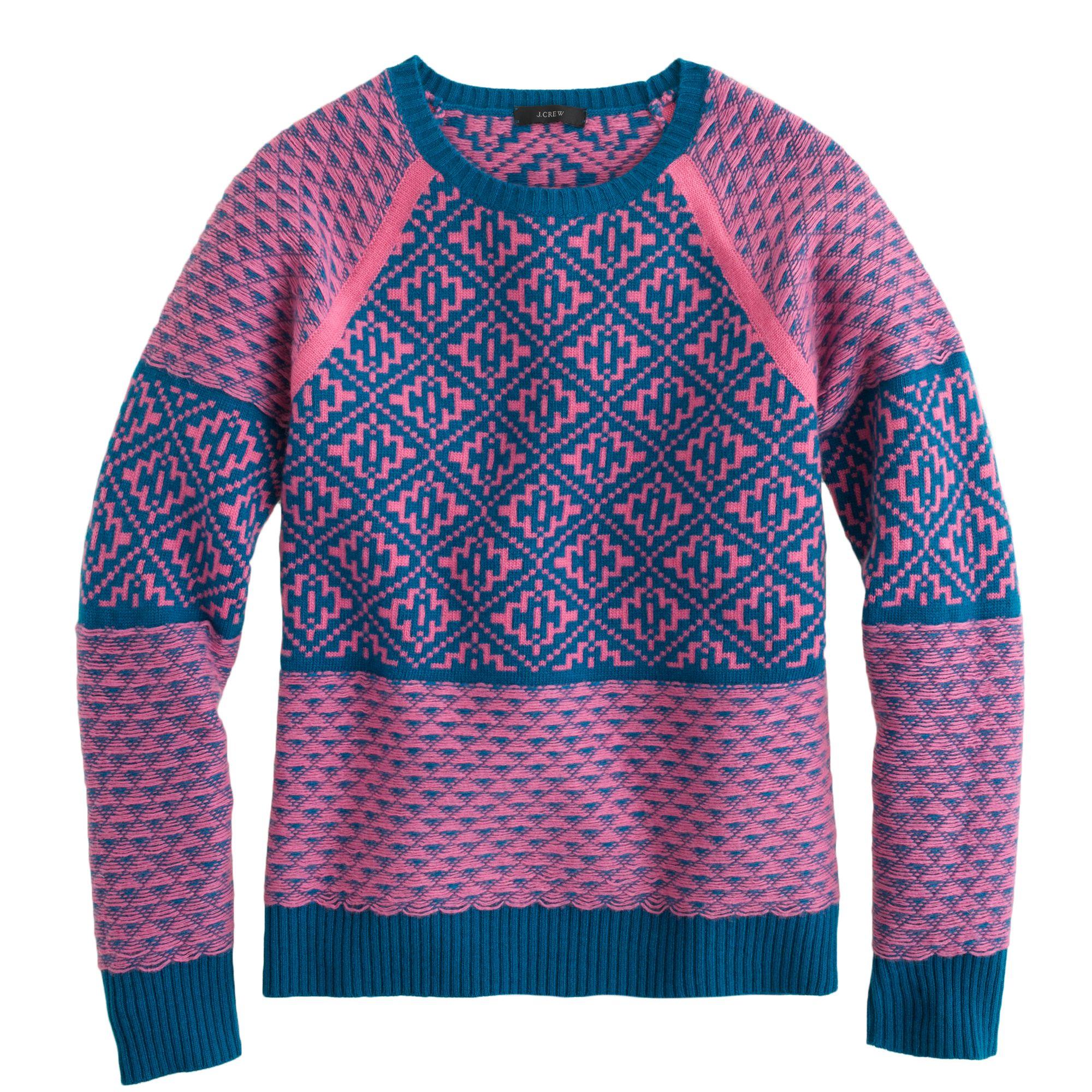 J.crew Handkerchief Fair Isle Sweater in Purple | Lyst