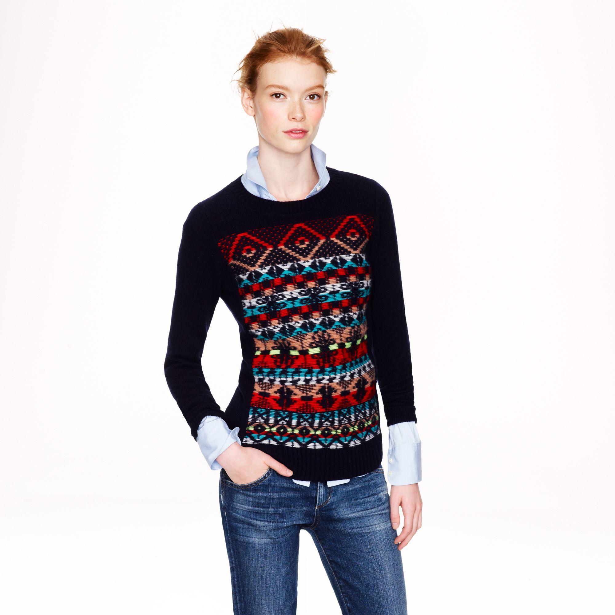 Jacquard stitch fair isle sweater in multicolor for Jcrew com