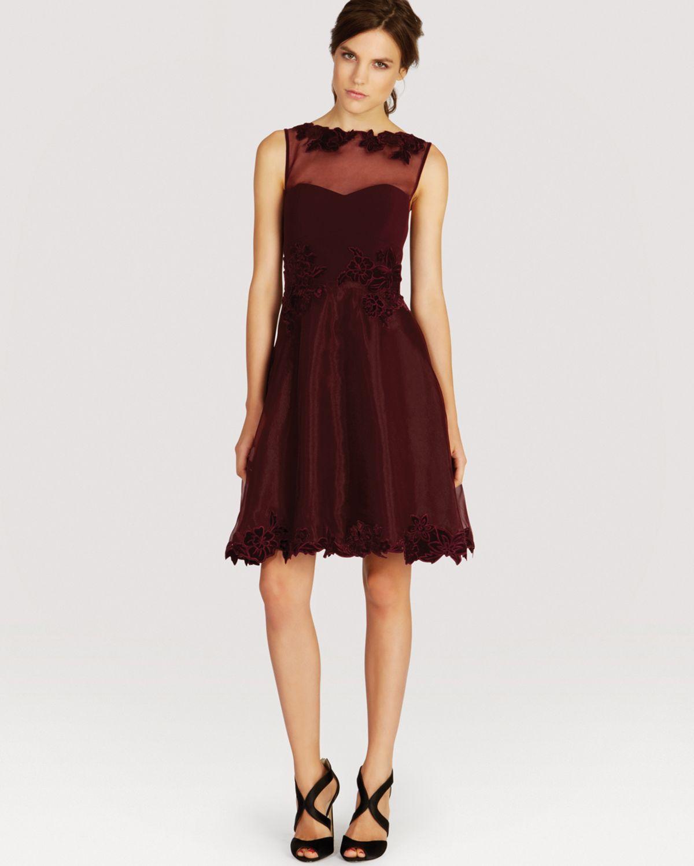 Karen Millen Burgundy Applique Dress Size