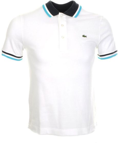 lacoste tipped polo t shirt in white for men lyst. Black Bedroom Furniture Sets. Home Design Ideas
