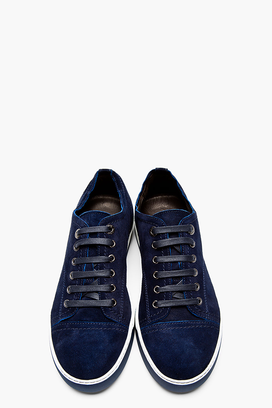 lanvin navy suede classic tennis sneakers in blue for