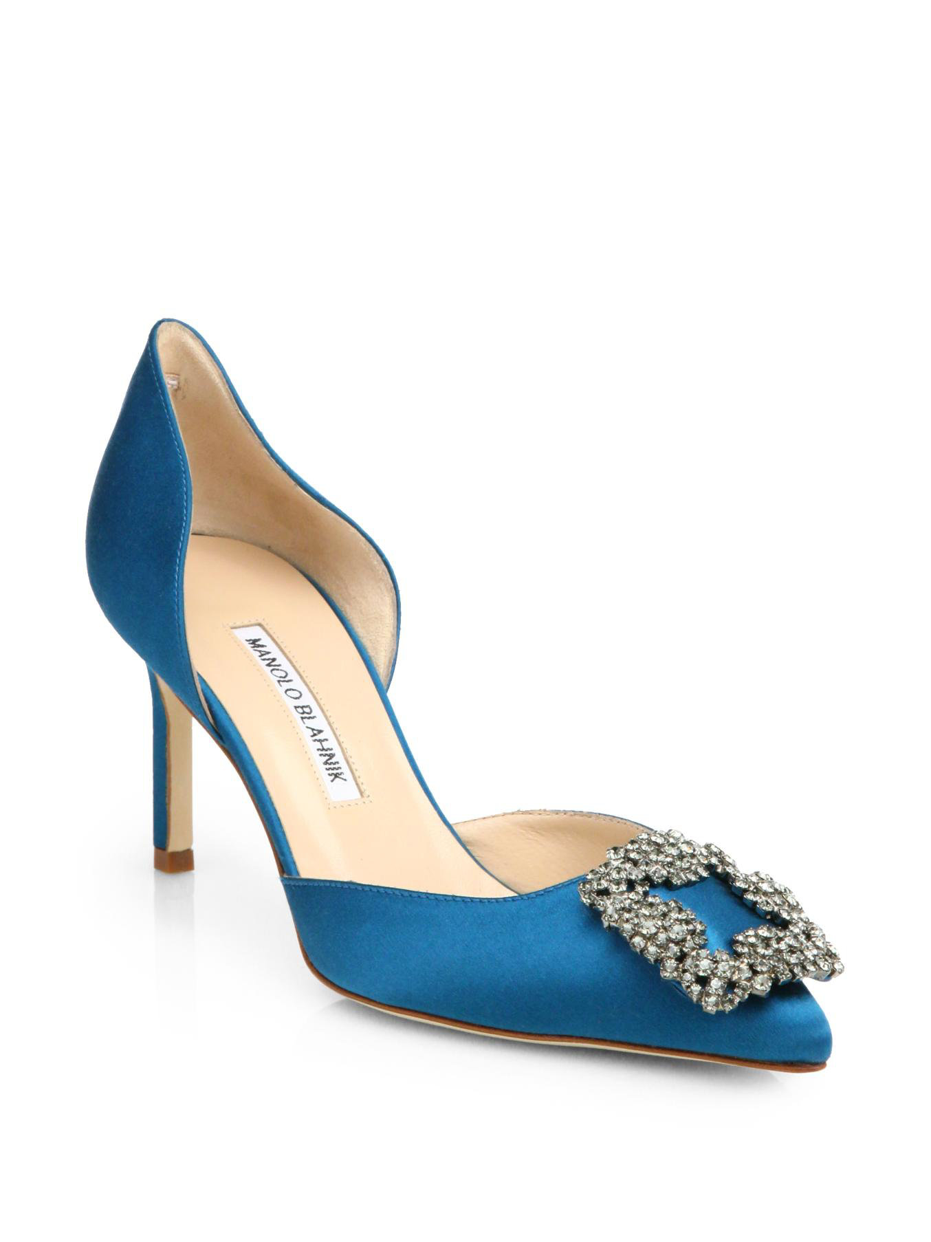 Manolo blahnik hangisido satin d 39 orsay pumps in blue teal for Who is manolo blahnik