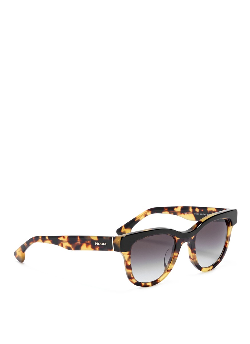 134d66a1e859 switzerland prada oversized cat eye sunglasses in tortoise shell de73f  04a61; switzerland lyst prada contrast frame tortoiseshell sunglasses in  black 7a74a ...