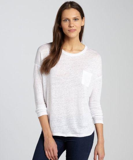 Vince White Linen Long Sleeve Chest Pocket Tshirt In White
