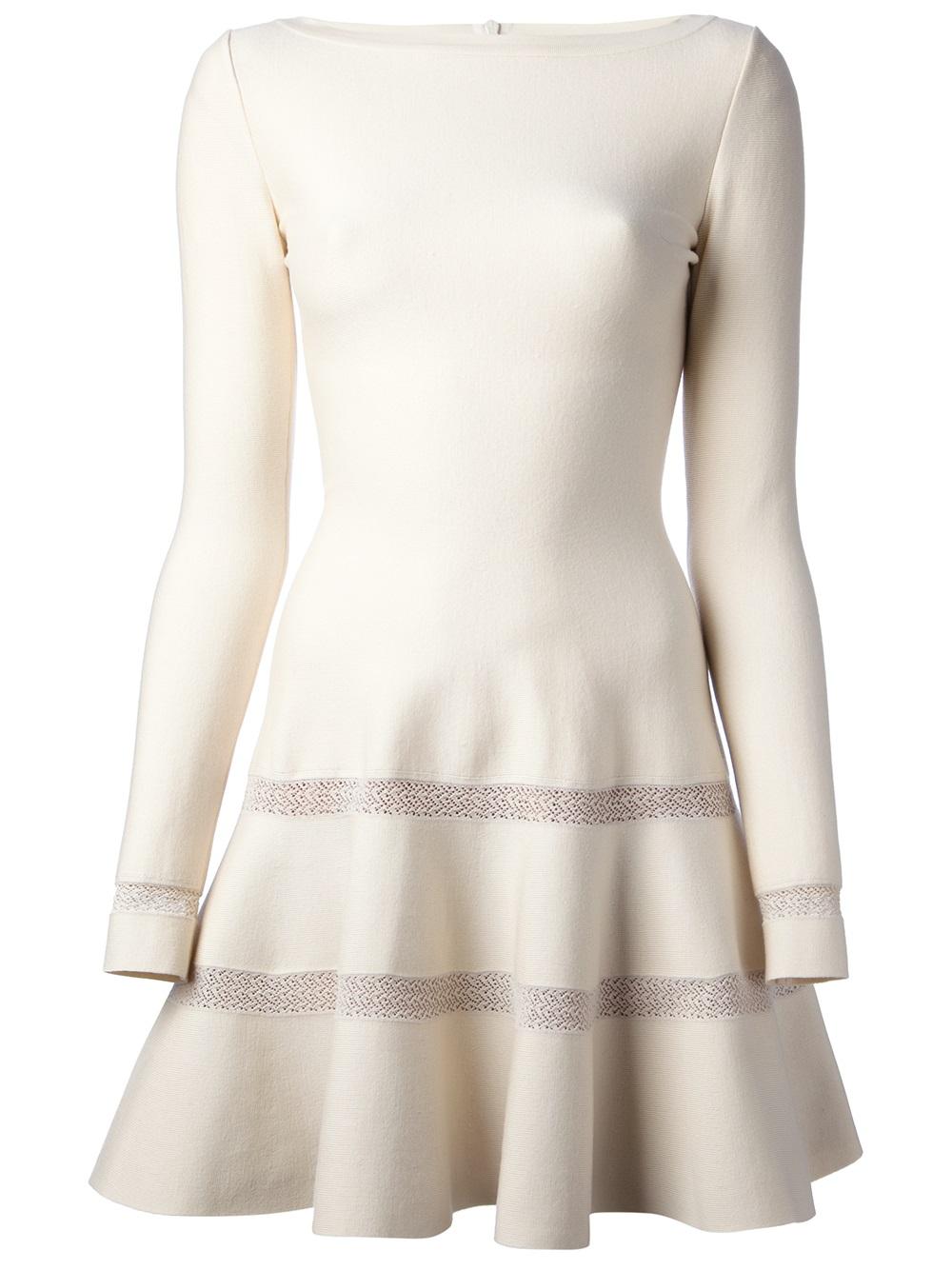 5b63603fa7c Alaïa Flared Dress in White - Lyst