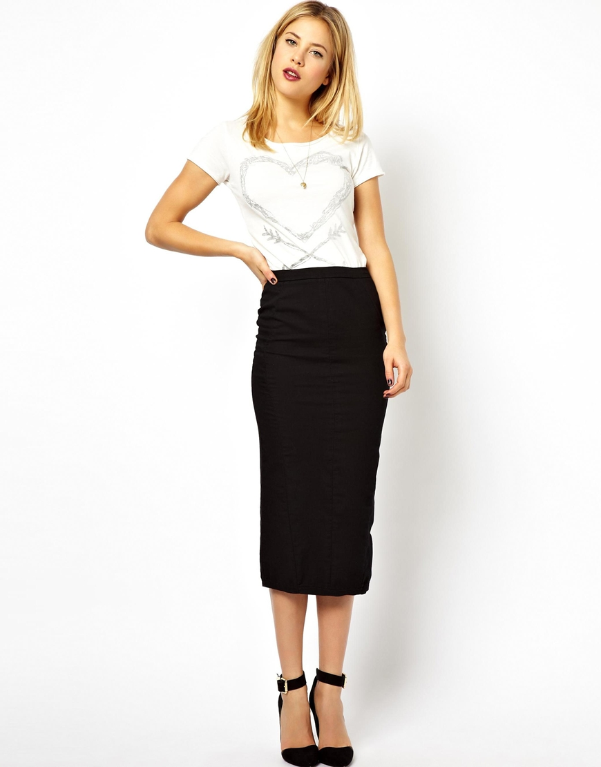 Asos Denim Seamed Midi Pencil Skirt In Clean Black in Black | Lyst