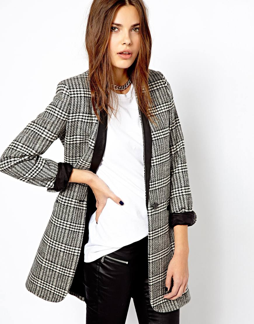 Asos Mango Checked Oversized Blazer in Black | Lyst