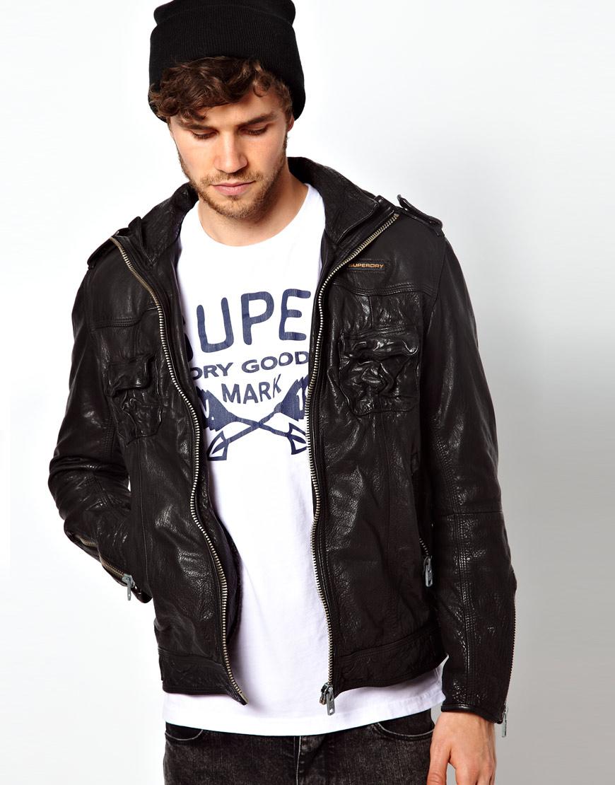 Leather jacket superdry -  Superdry Hooded Leather Jacket Mens