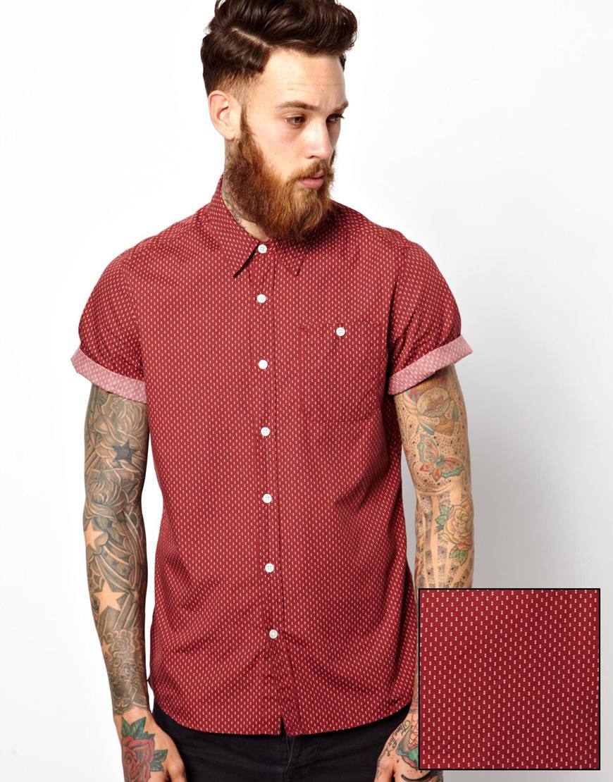 Asos Shirt In Short Sleeve With Double Polka Dot Print in Purple ...