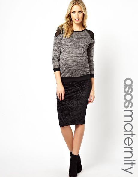 asos maternity pencil skirt in crushed velvet in black lyst