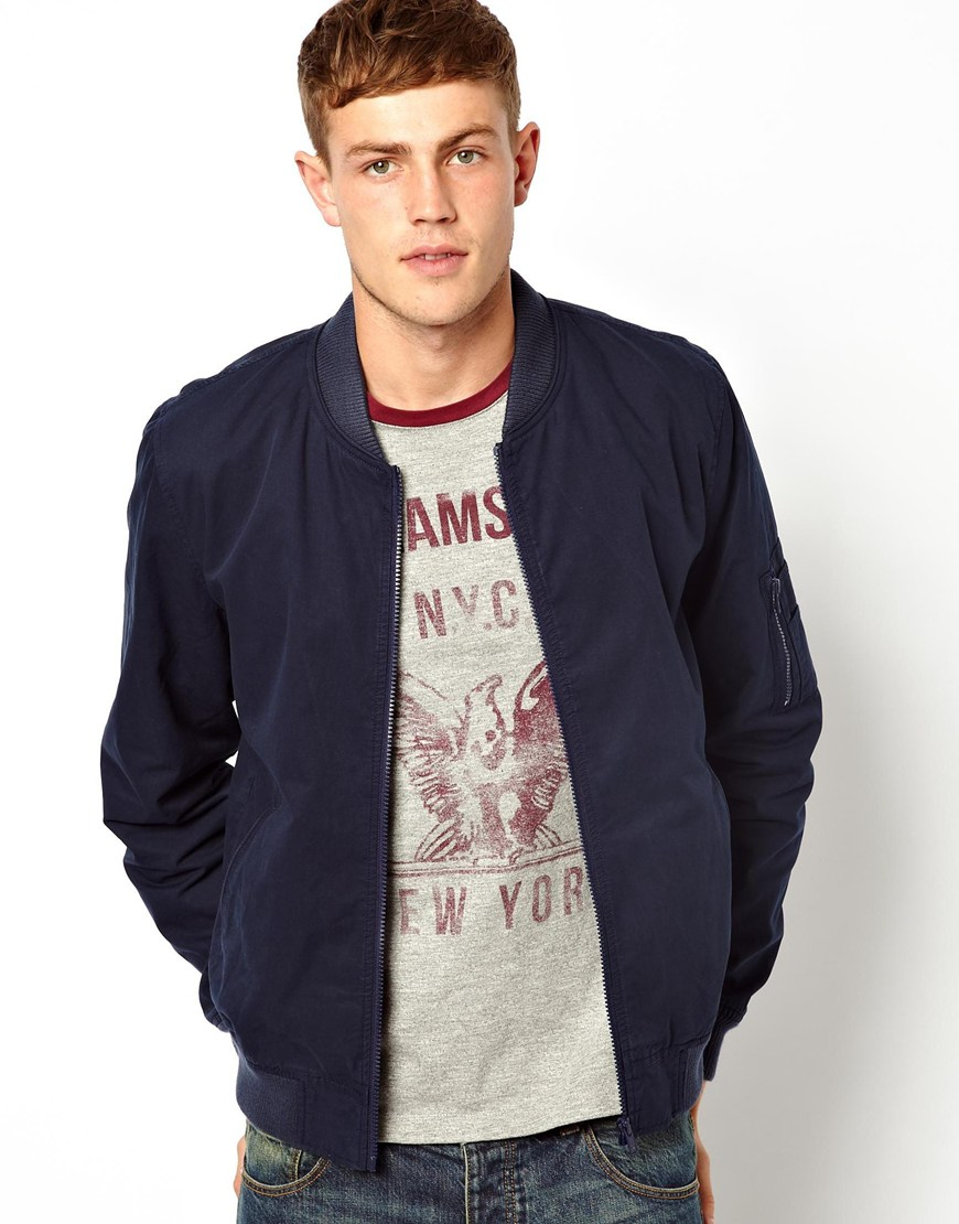 Asos Bomber Jacket in Blue for Men (Navy)