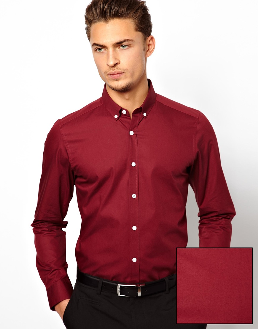 Asos Smart Shirt in Long Sleeve with Button Down Collar in Cotton ...