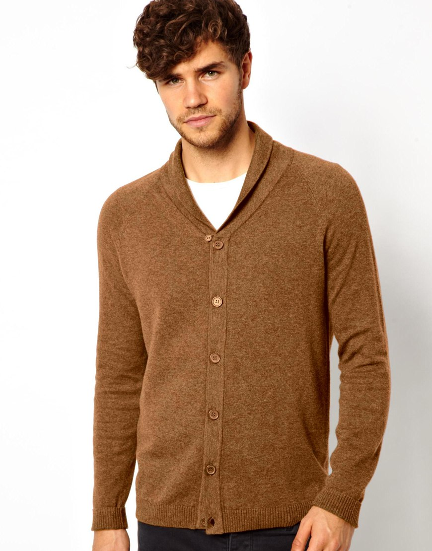 Asos Shawl Cardigan in Brown for Men | Lyst