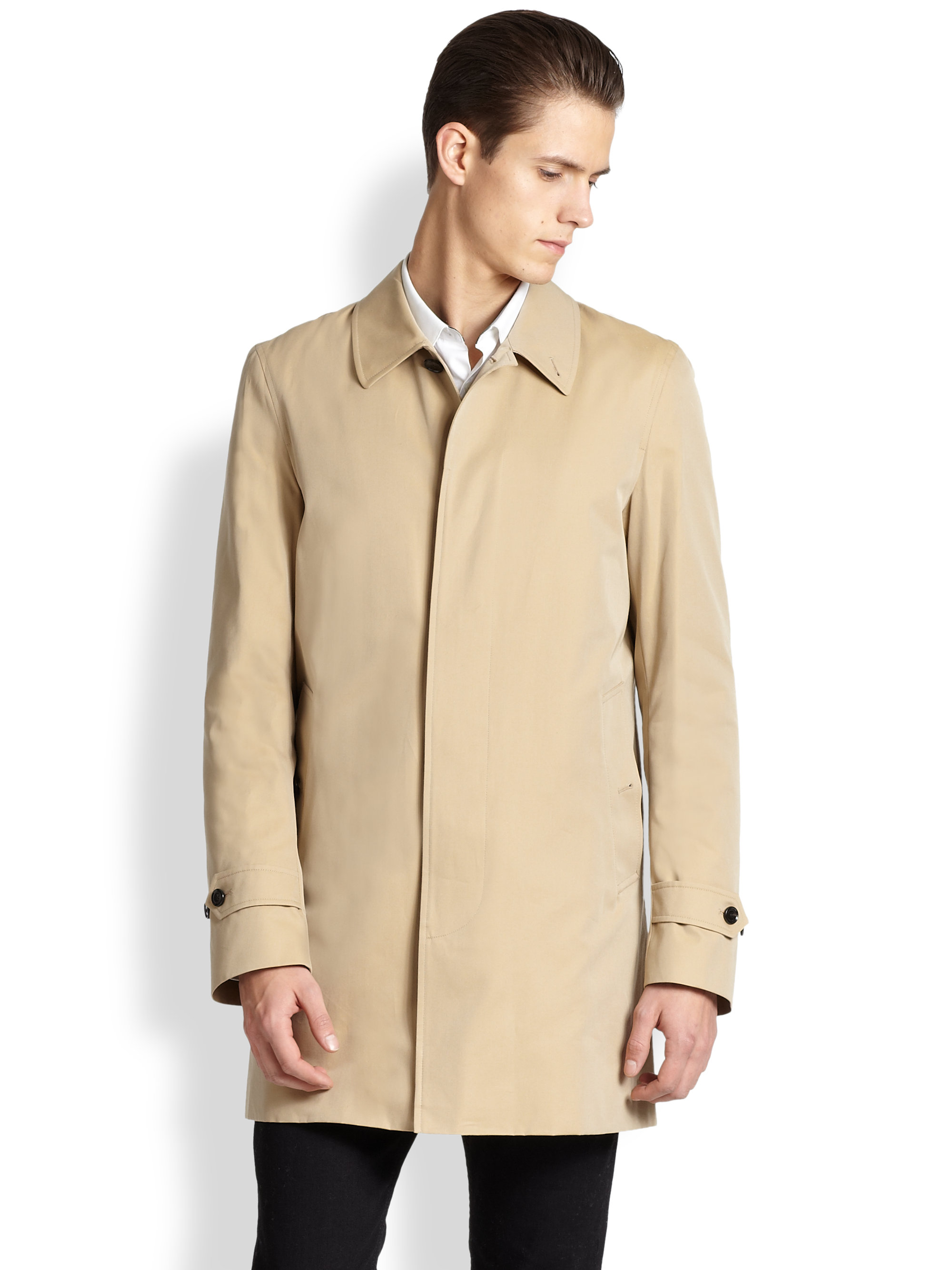 Burberry Roeford Cotton Car Coat in Natural for Men | Lyst