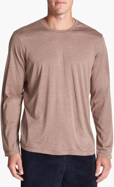 daniel buchler silk cotton long sleeve t shirt in brown