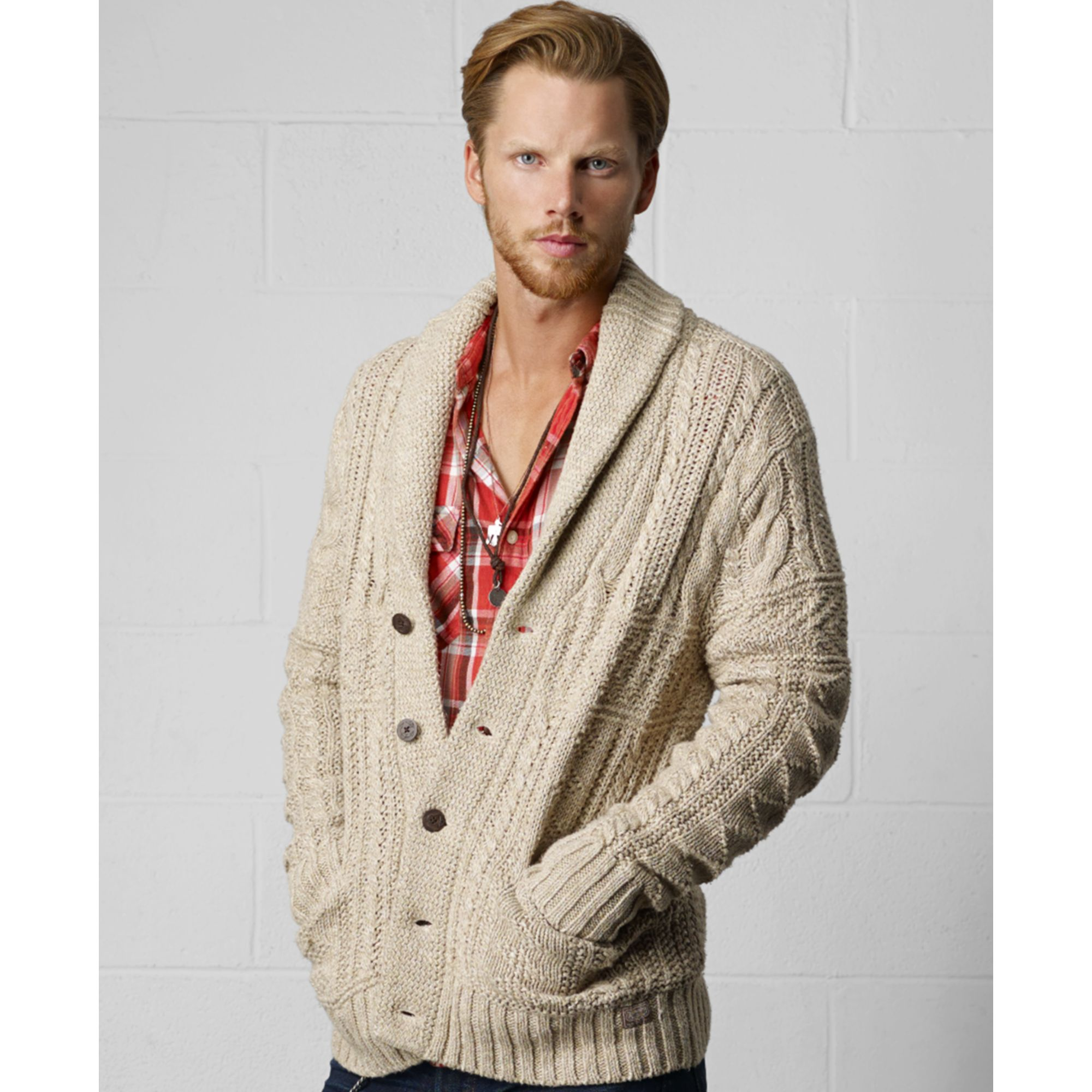 Denim Amp Supply Ralph Lauren Shawl Collar Cable Knit Cardigan In Beige For Men Natural Lyst
