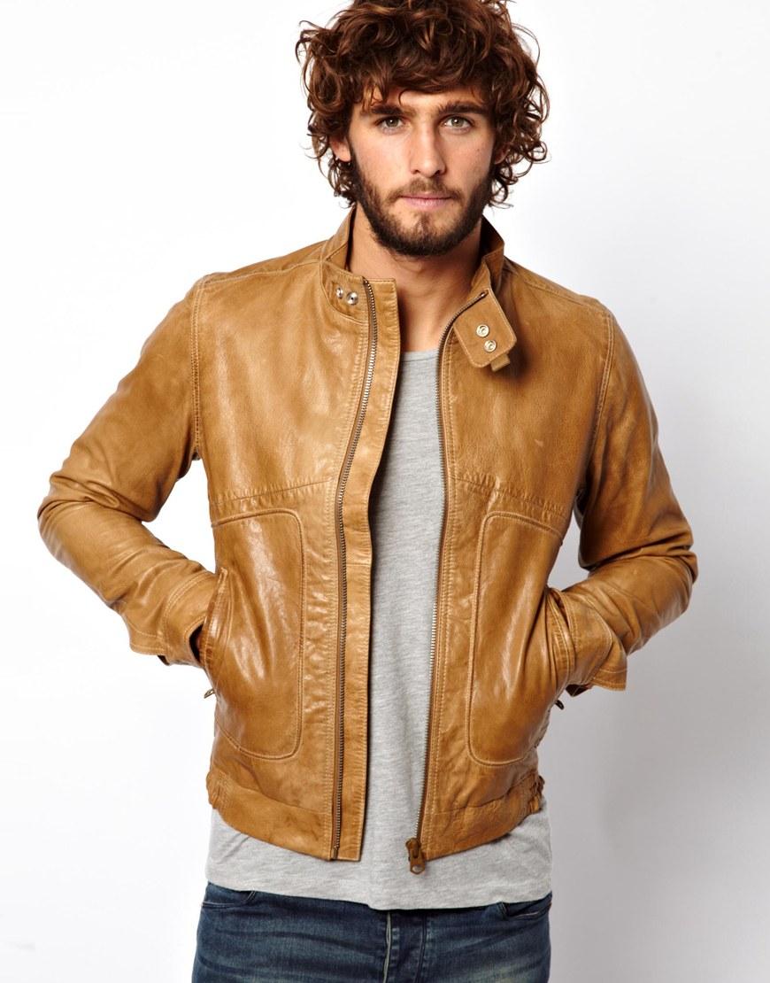 asos g star leather jacket in brown for men lyst. Black Bedroom Furniture Sets. Home Design Ideas