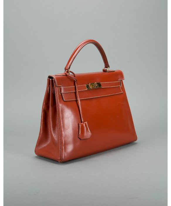 Herm��s Preowned Brique Retourne Box Calf Kelly 32cm Bag in Red | Lyst