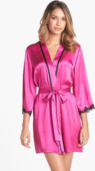 In Bloom By Jonquil Lace Trim Robe in Pink (Hot Pink)