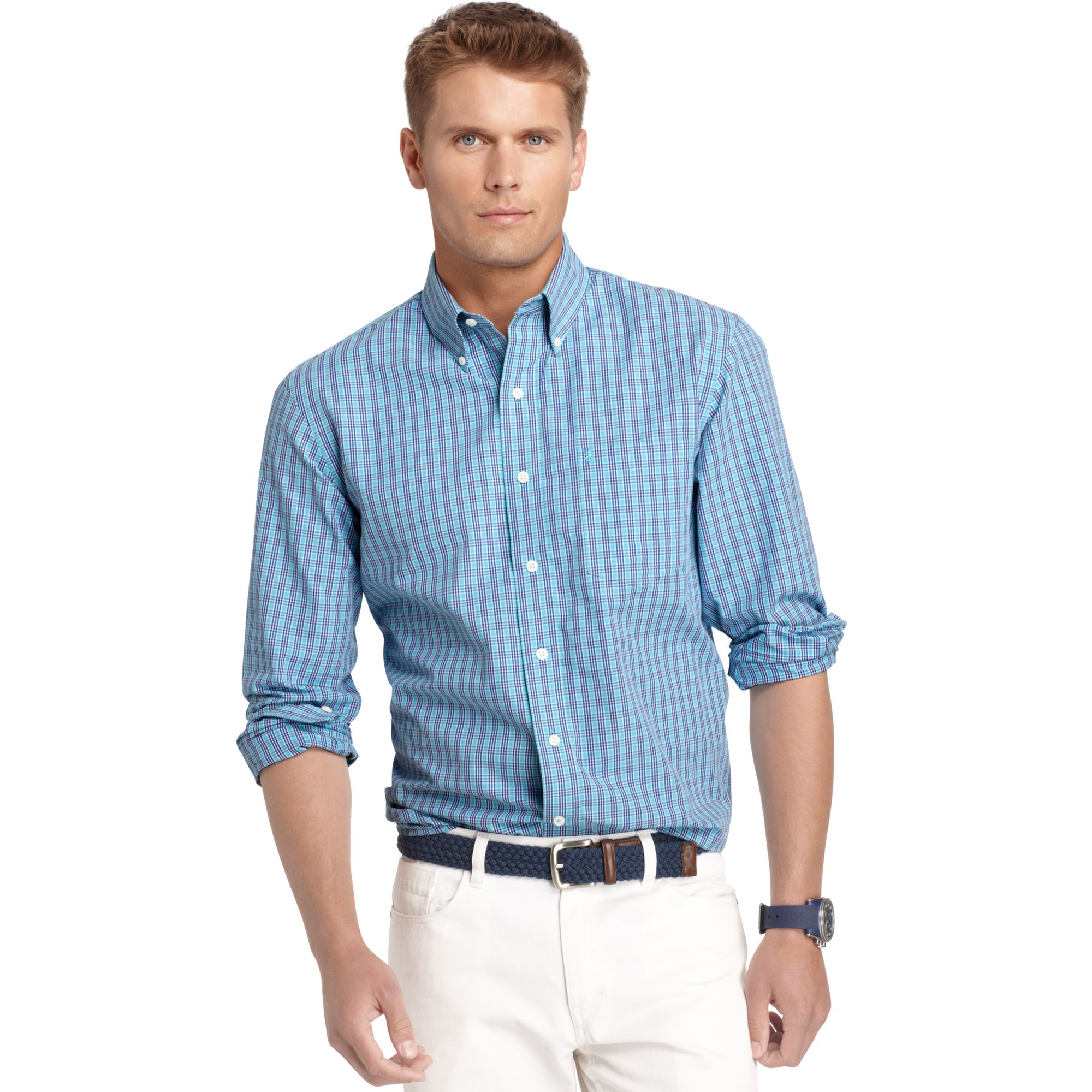 Lyst izod big and tall shirt long sleeve essential plaid for Big and tall long sleeve shirts