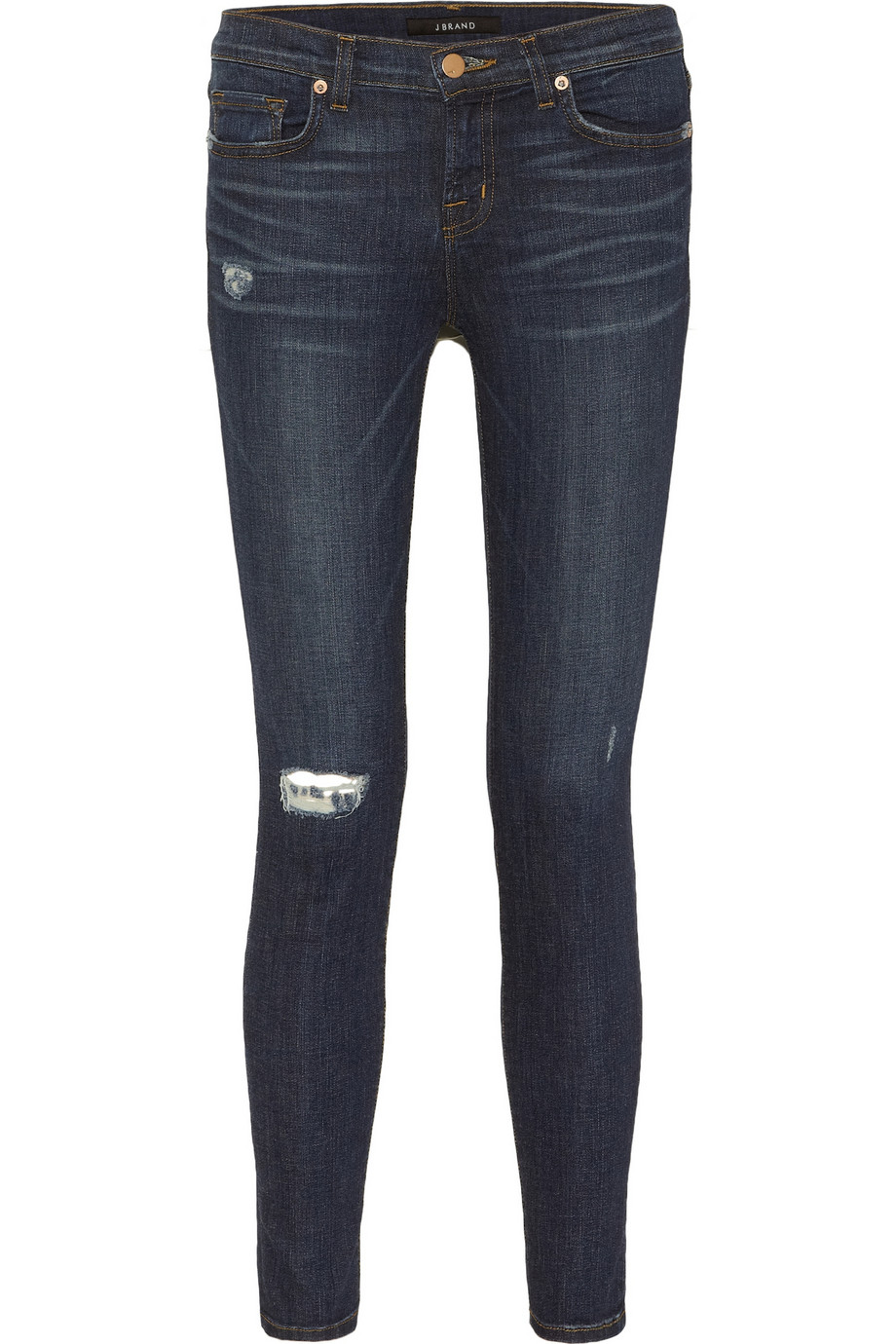 J brand 811 Distressed Mid Rise Skinny Jeans in Blue | Lyst