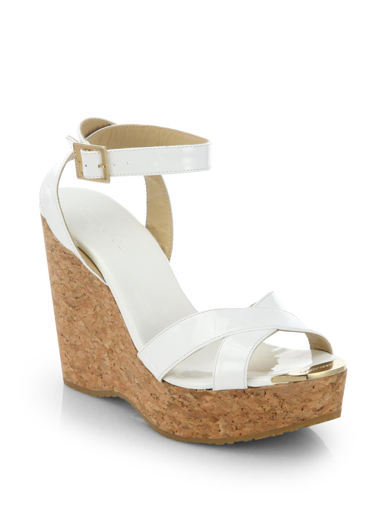 Lyst Jimmy Choo Papyrus Patent Leather And Cork Wedge